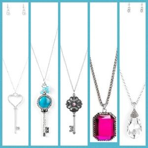 5 piece paparazzi long necklace key set